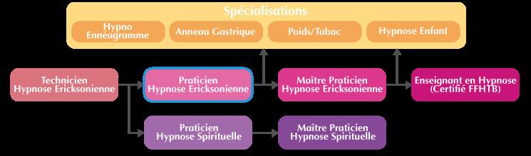 Schéma cursus formation praticien Hypnose Ericksonienne Intensif Paris
